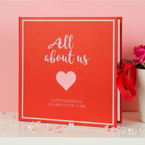 'All About Us' Scrapbook Keepsake Gift - Valentine Anniversary Love Journal Gift